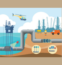 Fuel pipeline management infographic vector