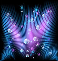 Glowing rays stars and bubbles vector image