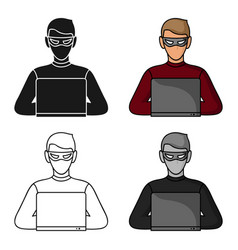 hacker icon in cartoon style isolated on white vector image vector image