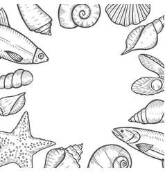 hand drawn seafood background vector image
