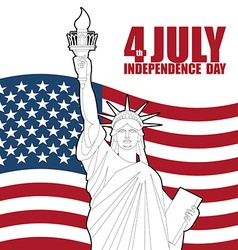 July 4th Independence Day of America Statue of vector image vector image