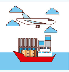 logistic transport airplane and ship boxes and vector image