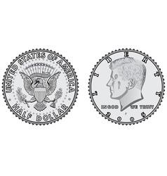Metal coins half dollar vector