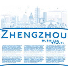 Outline zhengzhou skyline with blue buildings and vector