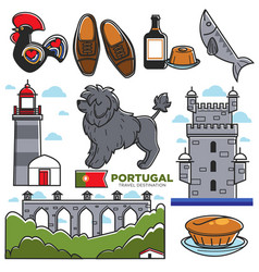 Portugal travel tourism lisbon souvenir symbols vector