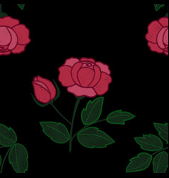 rose embroidery seamless pattern vector image vector image