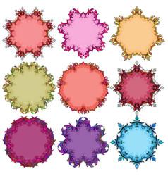 Set of floral round frames vector