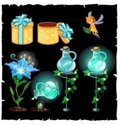 Set of magical plants and potion flasks vector image vector image
