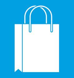 shopping bag icon white vector image vector image