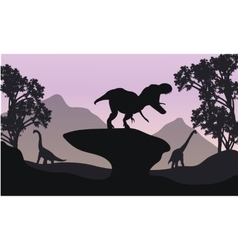 Silhouettte of baby Brachiosaurus and T-Rex vector image