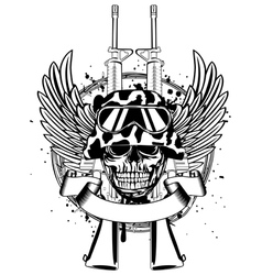 Skull in helmet and two guns vector