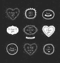 Vintage love labels frame and decorative elements vector image