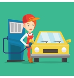 Worker filling up fuel into car vector