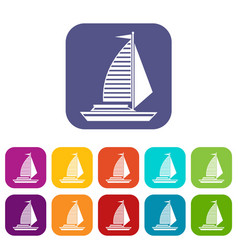 yacht with sails icons set vector image vector image