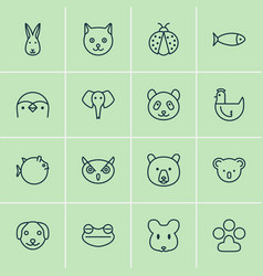 Zoology icons set collection of bunny grizzly vector