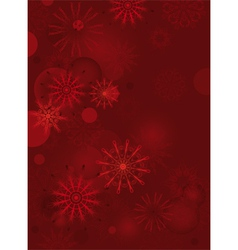 Red background with delicate snowflakes vector