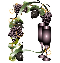 Wine glasses and vine vector