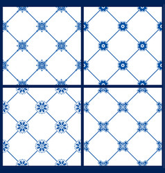 Set of seamless patterns - blue and white ceramic vector