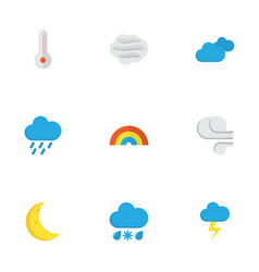 Meteorology flat icons set collection of bow the vector