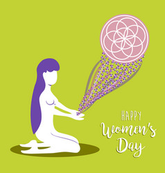 Happy womens day meditation mandala concept vector