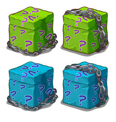 Box with surprise wrapped in chain vector