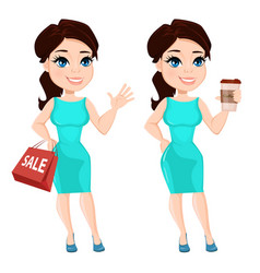 Pretty woman in vibrant dress holding coffee and vector