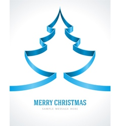 Christmas blue tree from ribbon background vector