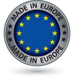Made in european union silver label with flag vector