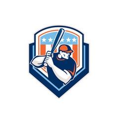 American baseball batter hitter shield retro vector