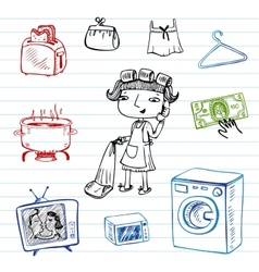 Housewife doodle set vector image