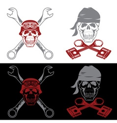 Biker theme labels with skull wrenches and pistons vector