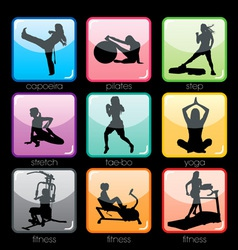 Fitness buttons set vector
