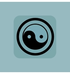 Pale blue ying yang sign vector