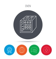 Oven icon electric stove sign vector