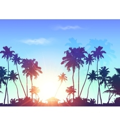 Palms silhouettes at blue sunrise sky vector