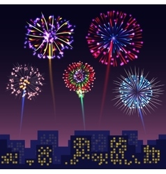 Bright festive fireworks with modern city vector image