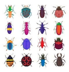 Insect bug icons set cartoon style vector