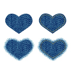 Denim heart patch vector