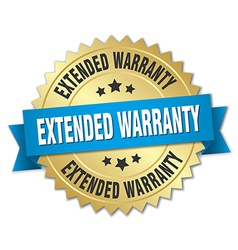 Extended warranty 3d gold badge with blue ribbon vector