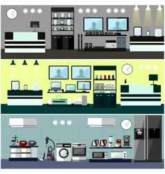Consumer electronics store interior colorful vector