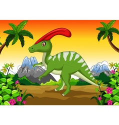 Dinosaur parasaurolophus cartoon in the jungle vector
