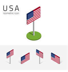 American flag usa set isometric icons vector