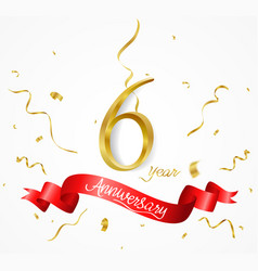 anniversary background with ribbon and confetti vector image vector image