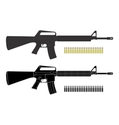 Assault rifles with bullets color silhouette vector