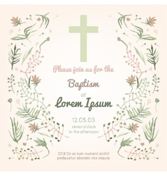 Baptism invitation card vector