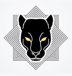 Black panther head puma face leopard tiger vector