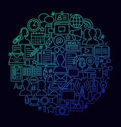 Blogging line icon circle concept vector