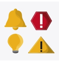 Bulb bell sign alert mail communication icon vector