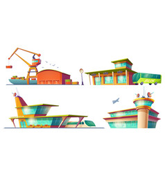 Bus and train stations airport sea port vector