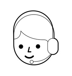 cartoon operator call center using headphones vector image